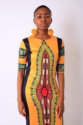 Yellow Fitted Dashiki Style Dress