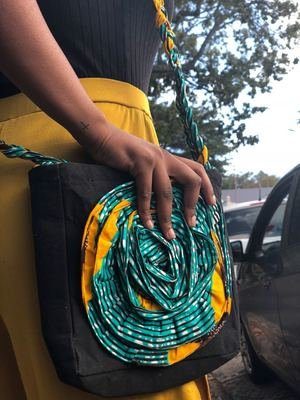 Spiral Green and Yellow Side Bag