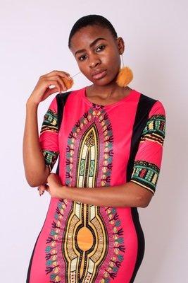 Pink Fitted Dashiki Style Dress