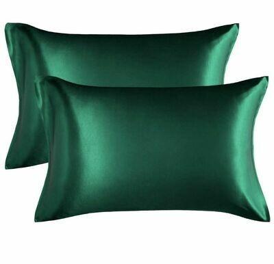 Satin'ista Emerald Green Satin Pillowcase Set