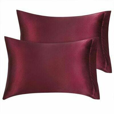 Satin'ista Maroon Satin Pillowcase Set