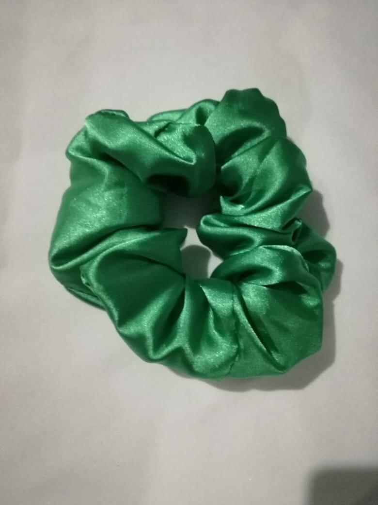 Satin'ista Green Satin Scrunchie