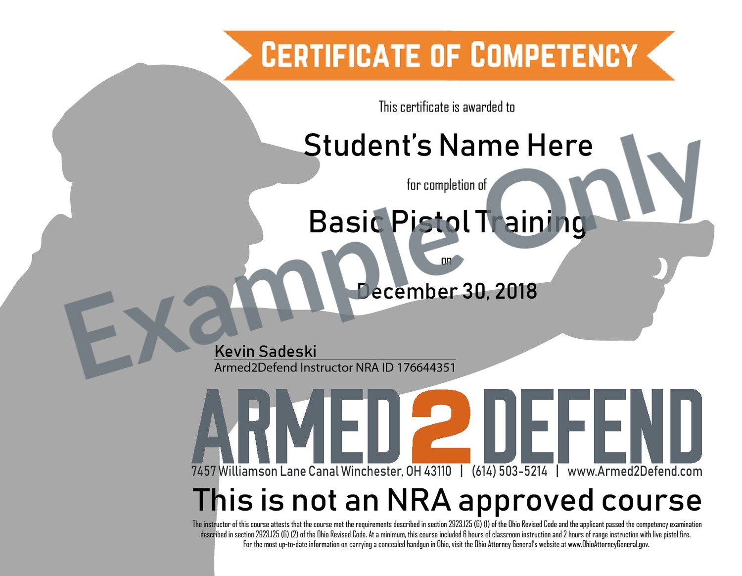 Mailed - Replacement Course Completion Certificate