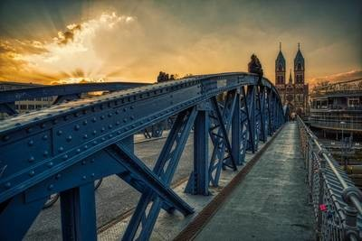Freiburg - Wiwilíbrücke Sonnenuntergang