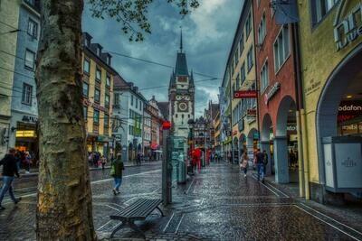 Freiburg - Rainy day in the city