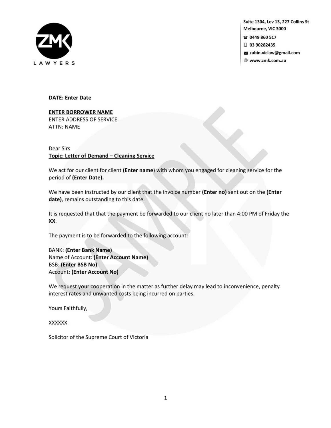 Letter of Demand - Unpaid Cleaning Services
