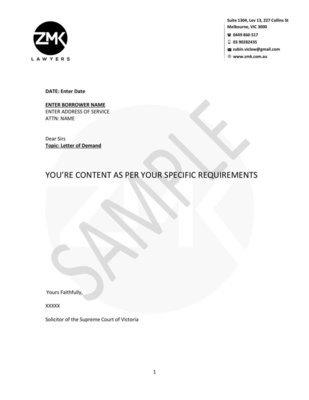 Letter of Demand - Customise Letter