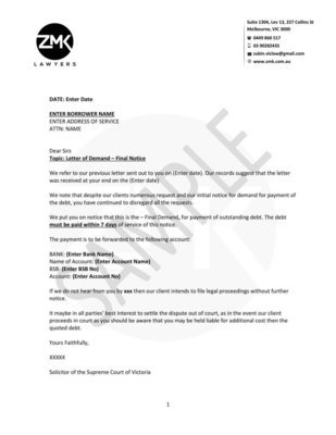 Final Notice - Intention to Commence Legal Proceeding