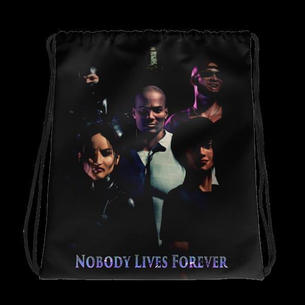 Nobody Lives Forever Drawstring bag