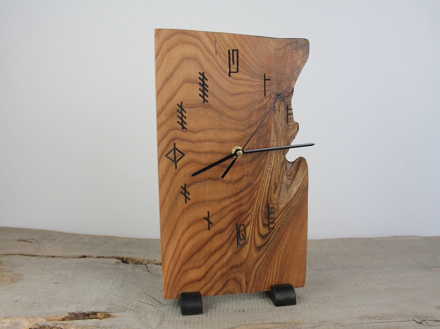 Wooden Elm Clock With Ogham Writing