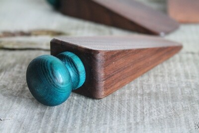 Small Walnut Wooden Doorstop, Door Wedge, Doorstopper