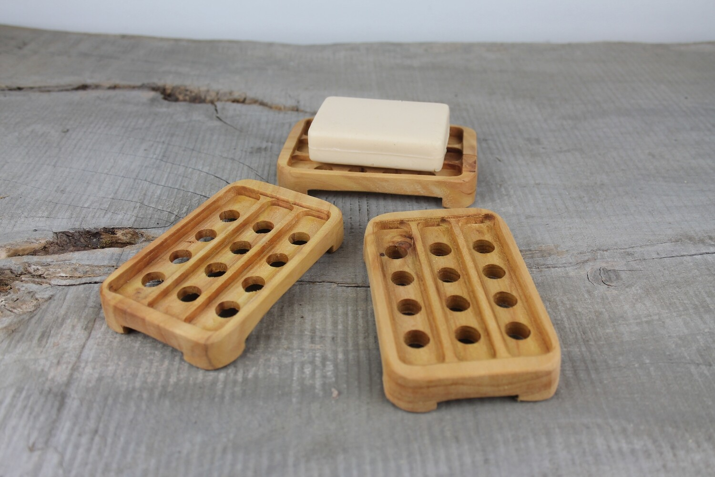 Draining Wood Soap Dish, Cypress Pine, Soap Tray, Soap Saver