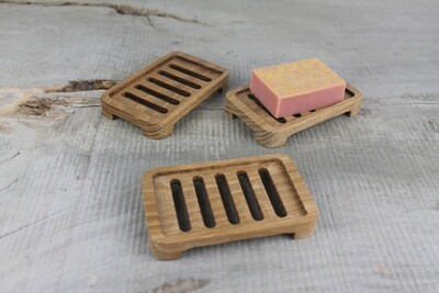 Wooden Self Draining Soap Dish, Oak, Plastic Free