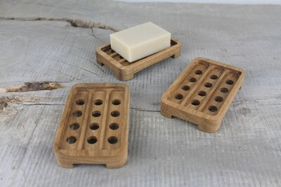 Draining Oak Wood Soap Dish, Soap saver, Soap Tray