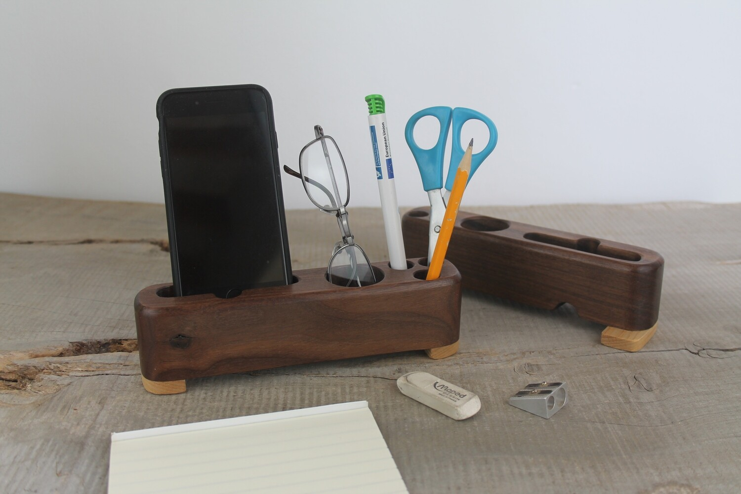 Walnut And Ash Wooden Docking Station, Desk Caddy