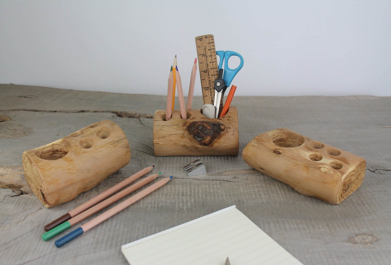 Handmade Wooden Desk Caddy, Pen and Pencil Holder, Plastic-free