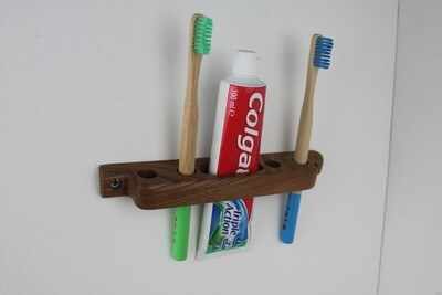 Wall Mounted Wooden Toothbrush Holder, Elm