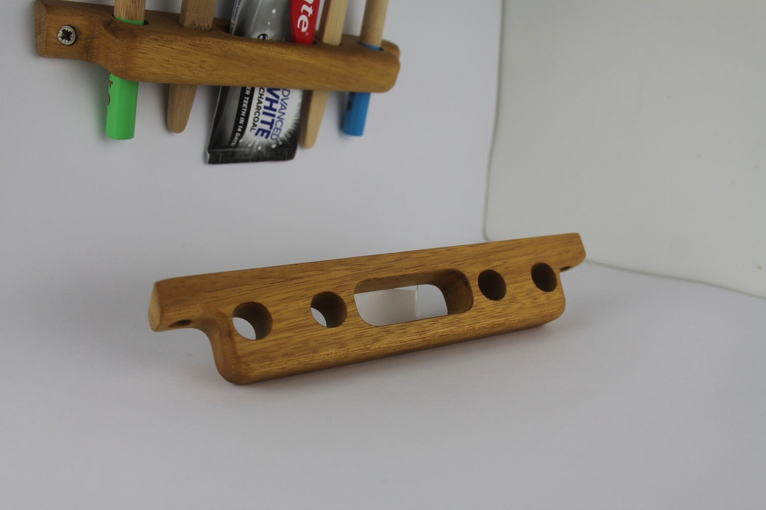 Wooden Toothbrush and Toothpaste Holder, Teak