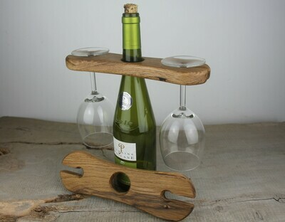 Rustic Oak Caddy For Wine Bottle And Two Glasses