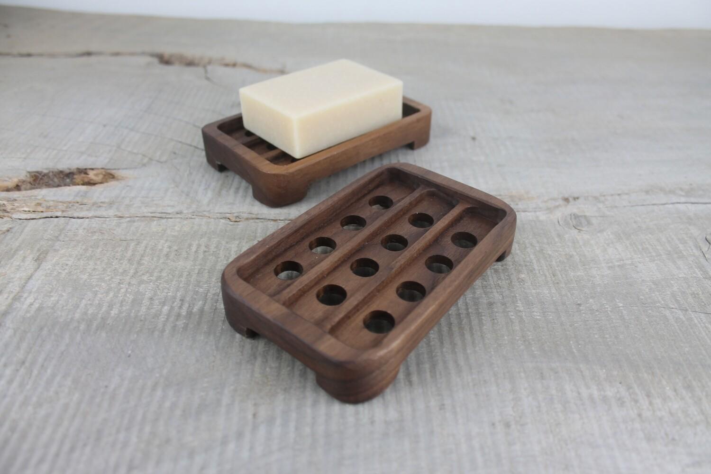 Draining Wood Soap Dish, Walnut Soap Tray, Soap Saver