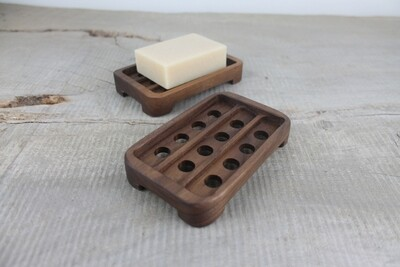 Draining Wood Soap Dish, Walnut Soap Tray, Soap Saver