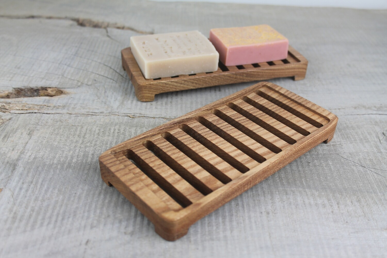 Large Wooden Draining Soap Dish, Elm Soap Saver