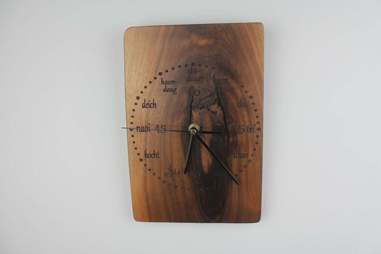 Black Walnut Clock With Irish Writing