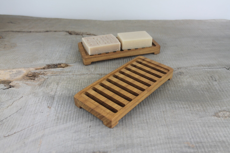 Large Wooden Draining Soap Dish, Teak Soap Saver