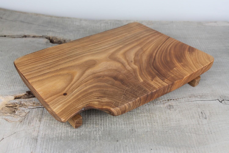 Solid Elm Cutting Board, Charcuterie board, Raised Wooden Serving Board