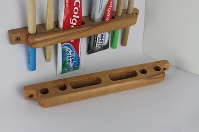 Wooden Toothbrush and Toothpaste Holder, Bathroom Caddy