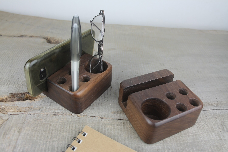Walnut Wood Desk Caddy, Pen and Pencil Holder