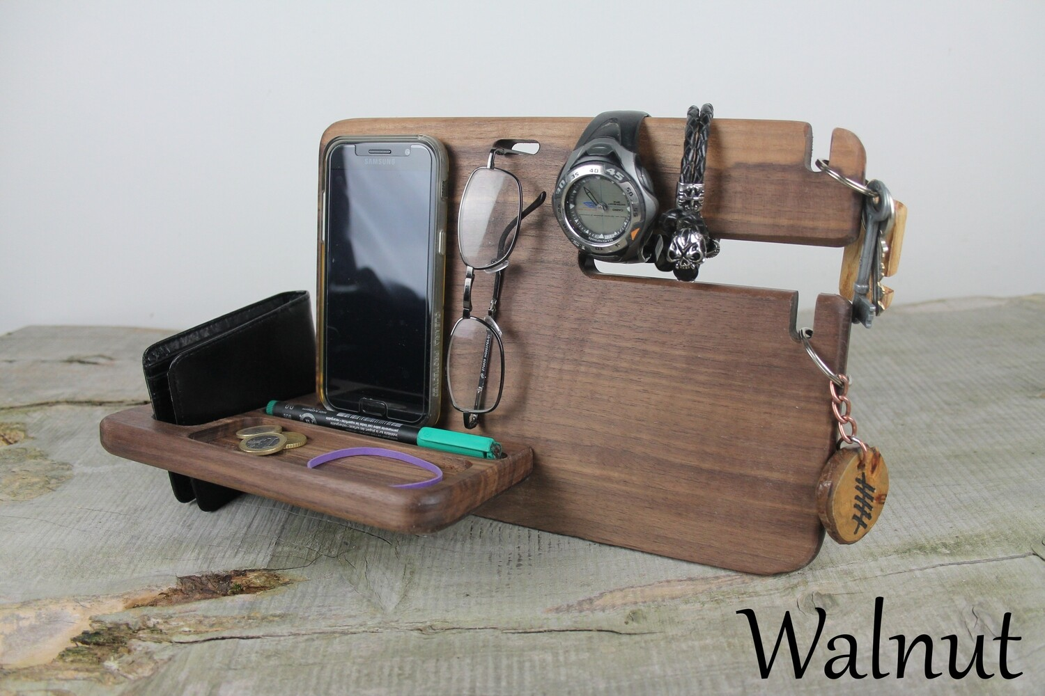Walnut Desk Organizer, Phone Stand, and Charging Station