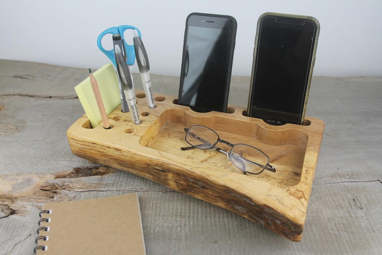 Chestnut Wood Desk Organizer for Two Phones