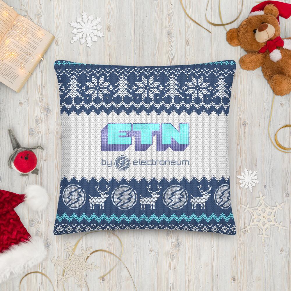 Electroneum Holiday Premium Pillow (Blue)