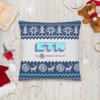 Electroneum Holiday Premium Pillow (Blue)