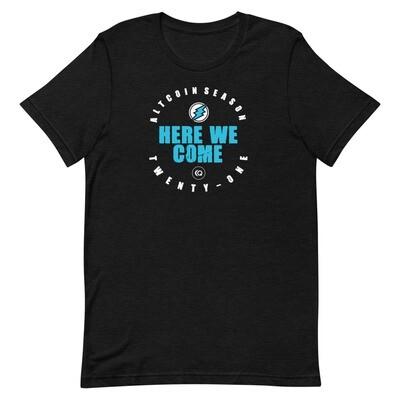 Here We Come - Altseason 2021 T-Shirt (Blue Wordmark/White Logo)