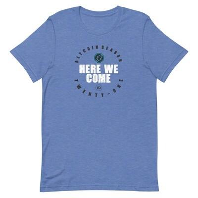 Here We Come - Altseason 2021 T-Shirt (White Wordmark/Dark Logo)