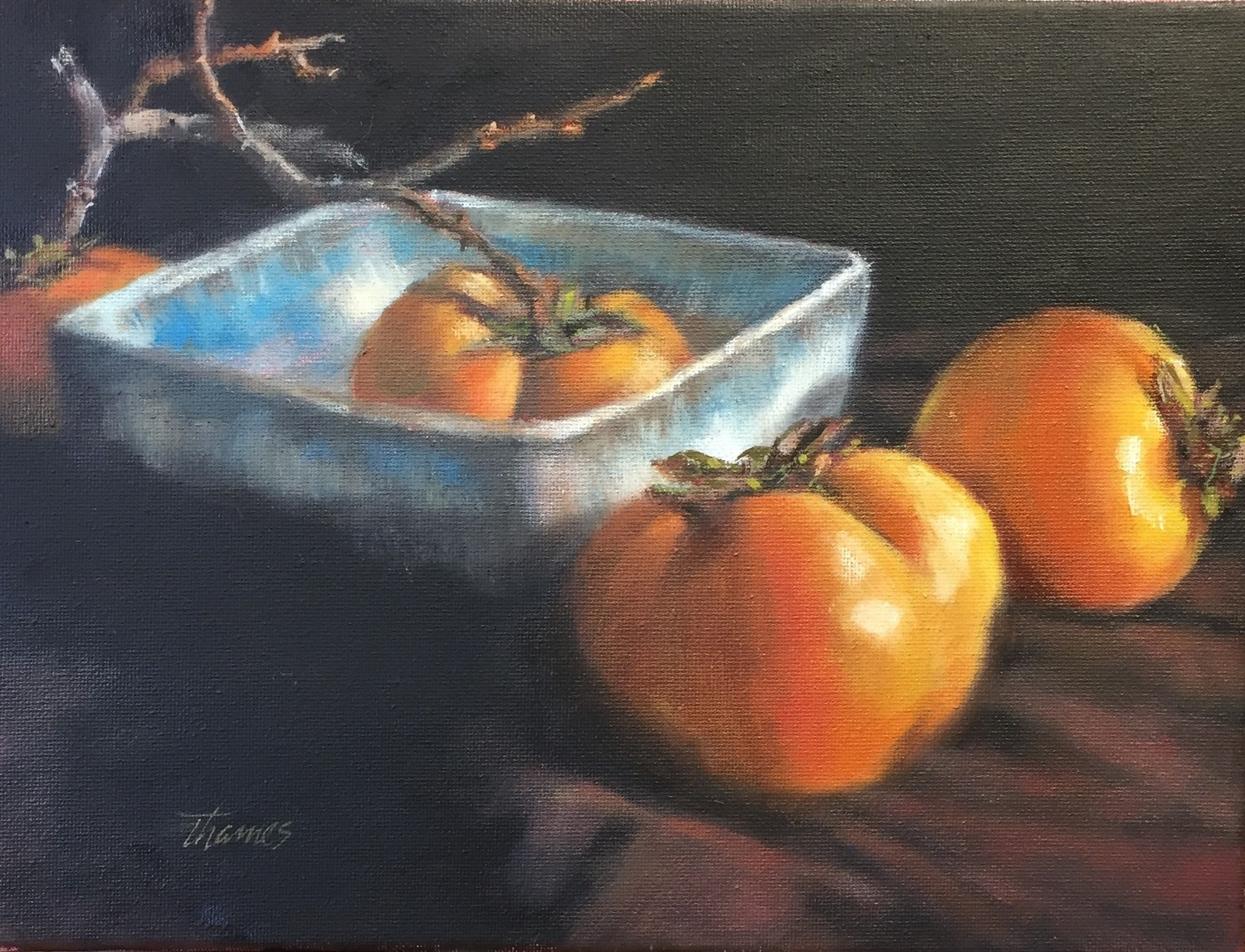 BLUE BOWL WITH PERSIMMONS - SOLD