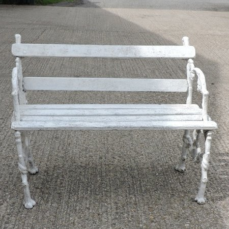 Lot 5,   A Victorian Coalbrookdale style cast iron white painted garden bench, 103cm 80/120