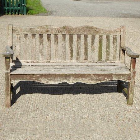 Lot 22,   A hardwood garden bench, 160cm 30/50