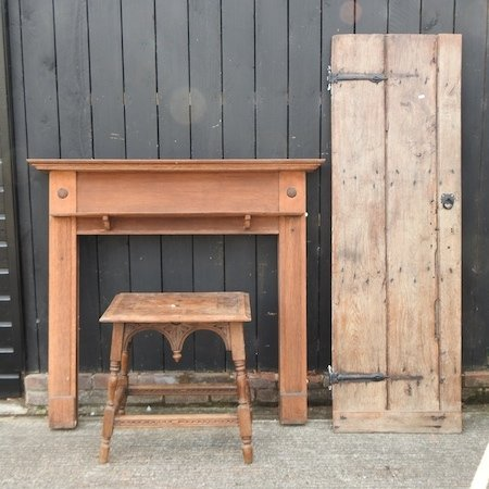 Lot 43,   An antique door, together with an oak fire surround, 136cm, and an occasional table 30/40