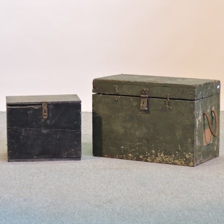 Lot 58,   A green painted military style wooden box, 61cm, together with another smaller 30/40