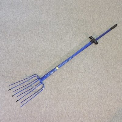 Lot 40,   Two blue painted manure forks 20/30