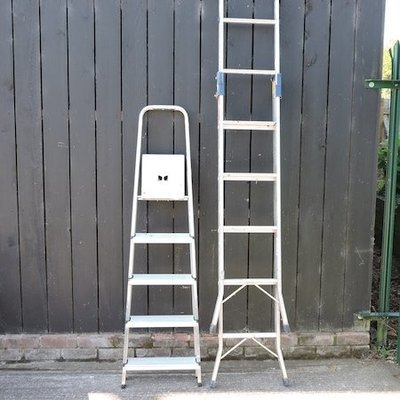Lot 42,   An aluminium stepladder, 225cm high, together with another smaller 30/40