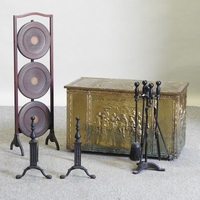 Lot 47,   A brass coal box, 74cm, together with a cake stand and a collection of fire tools 20/40
