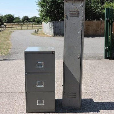 Lot 60,   A grey painted metal locker, together with a filing cabinet, 47cm 30/40