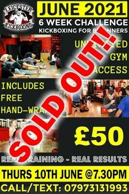 Adults kickboxing Beginners Course Thursday 10th JUNE 2021