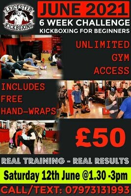 Adults kickboxing Beginners Course Saturday 12th June 1.30pm to 3pm