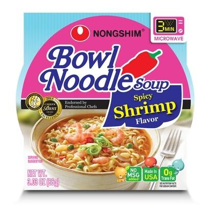 NongShim Bowl Noodle Soup Spicy Shrimp Flavor 3.03 oz