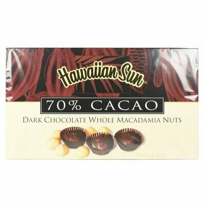 Hawaiian Sun 70% Cacao Dark Chocolate Covered Macadamia Nuts 5oz